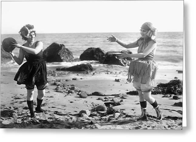 Silent Film Still: Beach Greeting Card by Granger