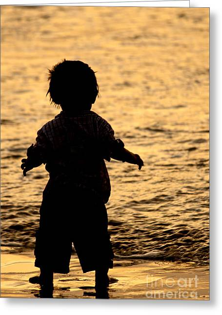 Silhouette Of A Child 1 Greeting Card by Carole Lloyd