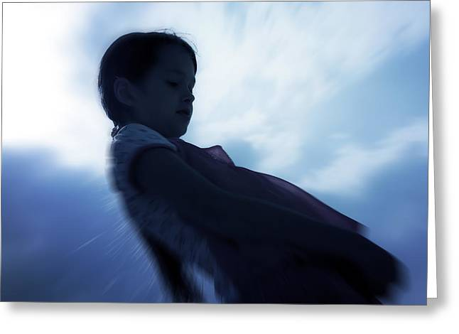Silhouette Of A Girl Against The Sky Greeting Card by Joana Kruse