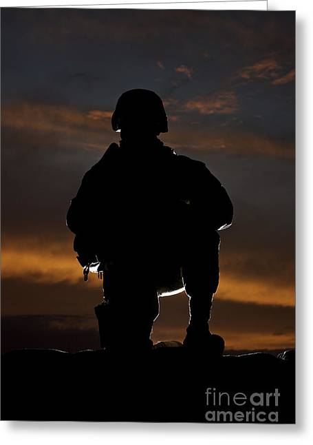 Silhouette Of A U.s. Marine In Uniform Greeting Card by Terry Moore