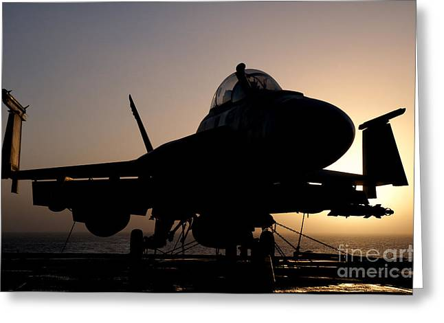Silhouette Of A Us Navy Fa-18e Super Greeting Card