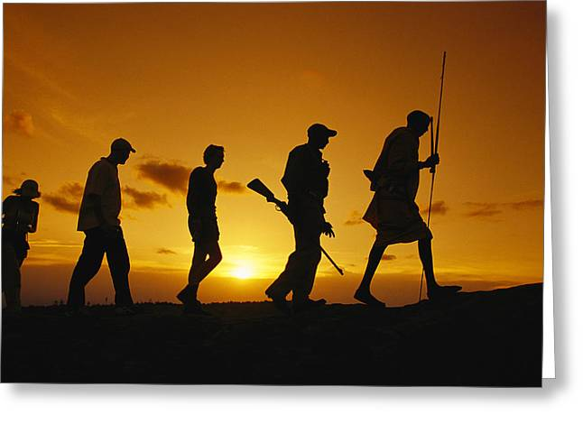 Silhouette Of Laikipia Masai Guides Greeting Card by Richard Nowitz