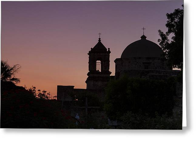 Silhouette Of Mission San Jose Greeting Card by Ellie Teramoto