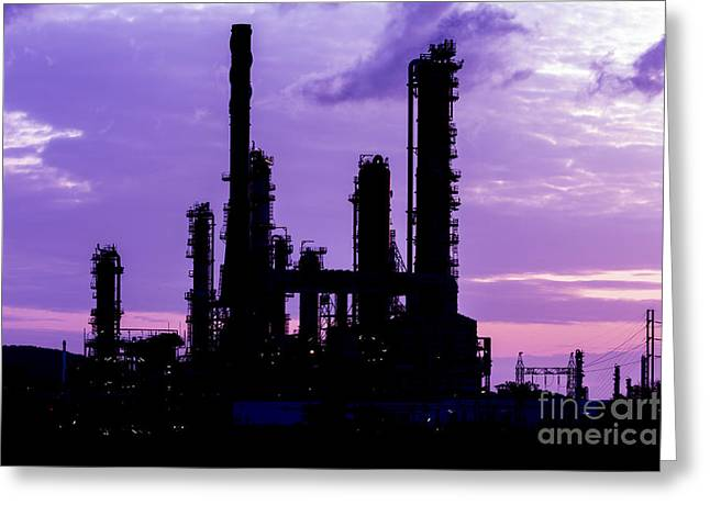 Silhouette Of Oil Refinery Plant At Twilight Morning Greeting Card by Mongkol Chakritthakool