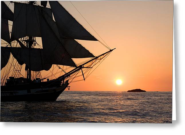 Silhouette Of Tall Ship At Sunset Greeting Card