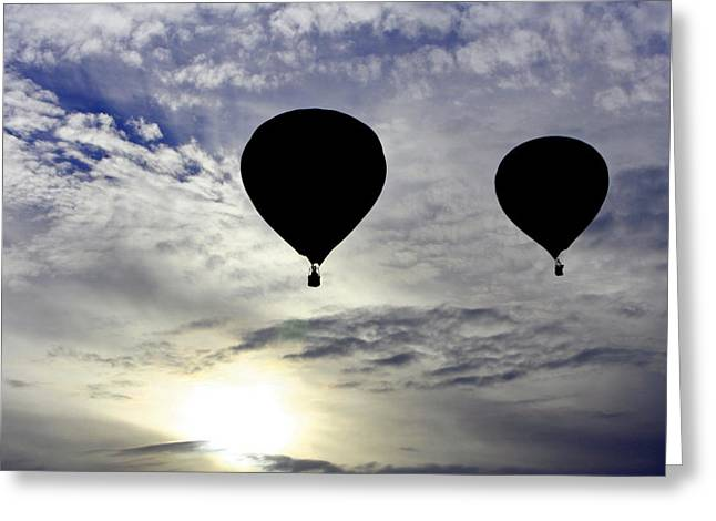 Silhouetted Hot Air Balloons Greeting Card