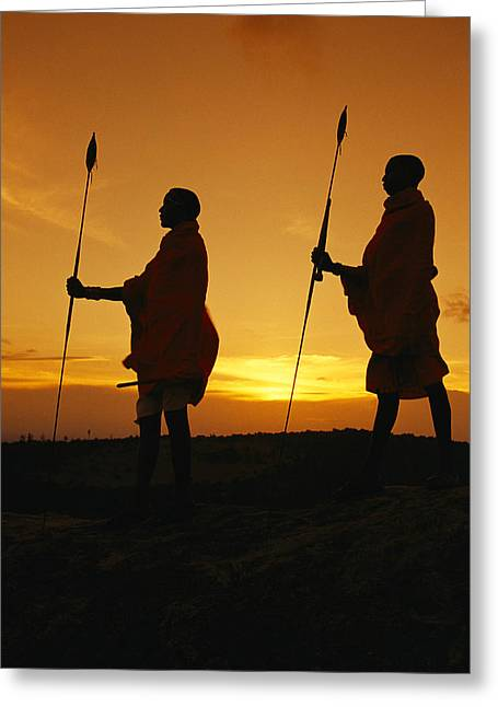 Silhouetted Laikipia Masai Guides Greeting Card by Richard Nowitz