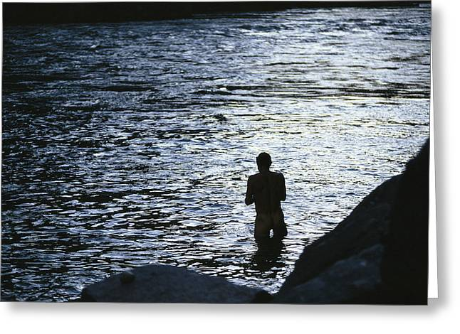 Silhouetted Man Bathing In The Colorado Greeting Card