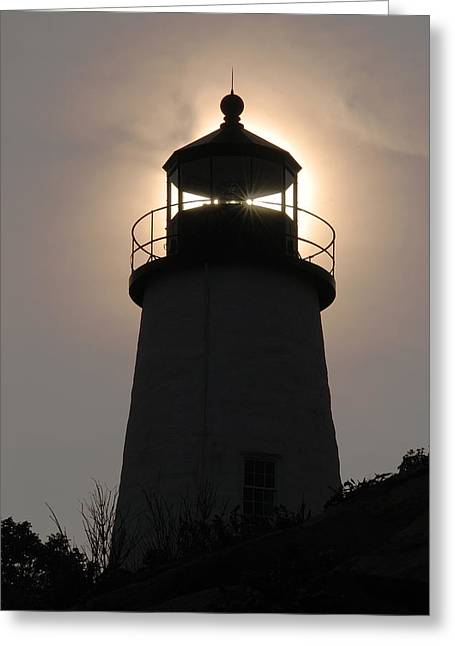 Silhouetted Pemaquid Lighthouse Greeting Card by Darlyne A. Murawski