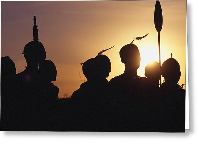 Silhouettes Of Samburu People At Sunset Greeting Card by Axiom Photographic
