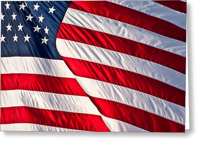 Silk Blowing American Flag Greeting Card by Evelyn Peyton