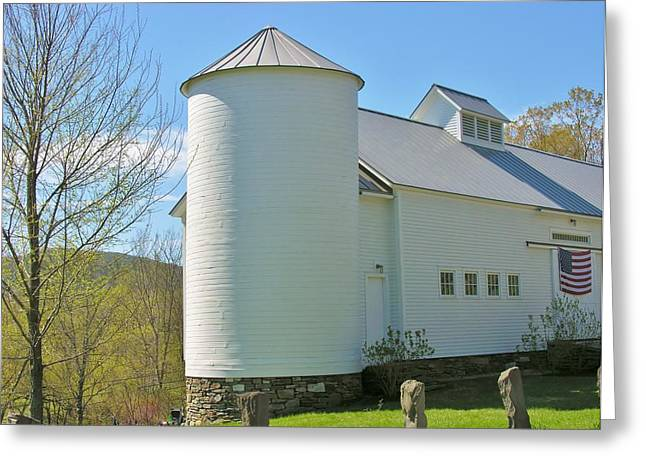 Greeting Card featuring the photograph Vermont Silo And Barn  by Sherman Perry