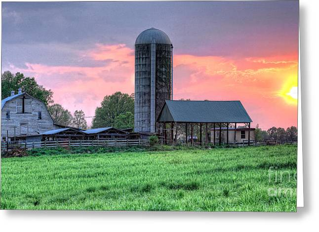 Silo Sunset I Greeting Card by Dan Carmichael