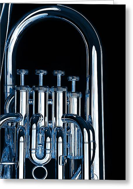 Silver Bass Tuba Euphonium On Black Greeting Card