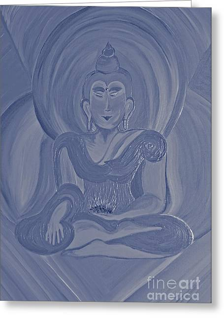 Silver Buddha Greeting Card by First Star Art