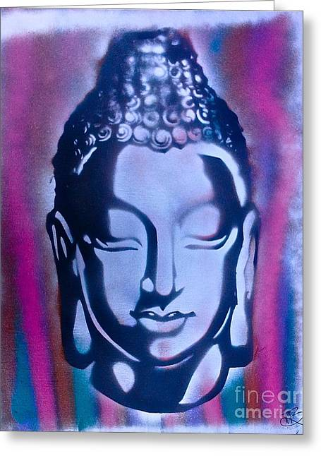Silver Buddha Greeting Card by Tony B Conscious