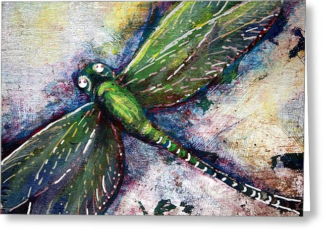 Silver Dragonfly Greeting Card