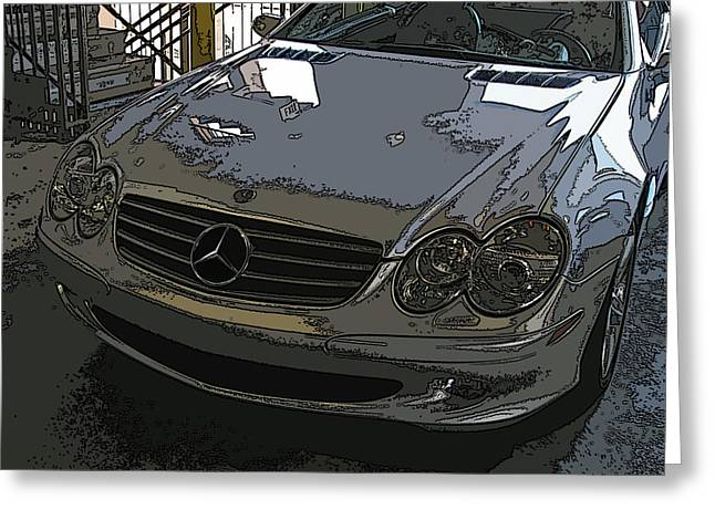 Silver Mercedes Benz Sl 500 Nose Study Greeting Card by Samuel Sheats