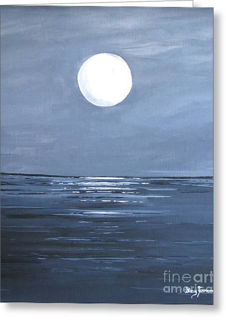 Greeting Card featuring the painting Silver Moon by Stacey Zimmerman