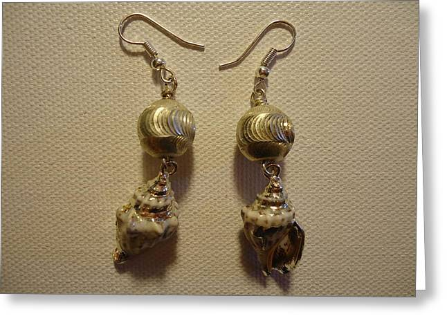 Silver Seashell Dangle Earrings Greeting Card by Jenna Green