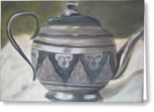 Silver Tea Kettle Greeting Card by Iris Nazario Dziadul