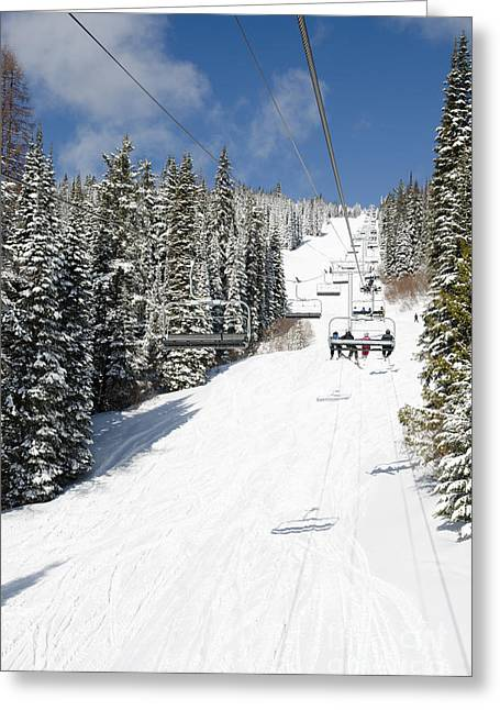 Silverstar Comet Express Chair Lift Silver Star Resort Vernon Bc Canada Greeting Card by Andy Smy