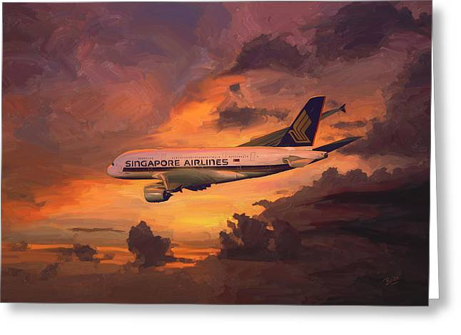 Singapore Airlines A380 Greeting Card by Nop Briex