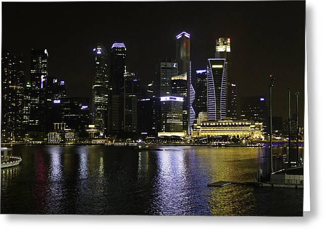 Singapore Skyline As Seen From The Pedestrian Bridge Near The Ma Greeting Card by Ashish Agarwal