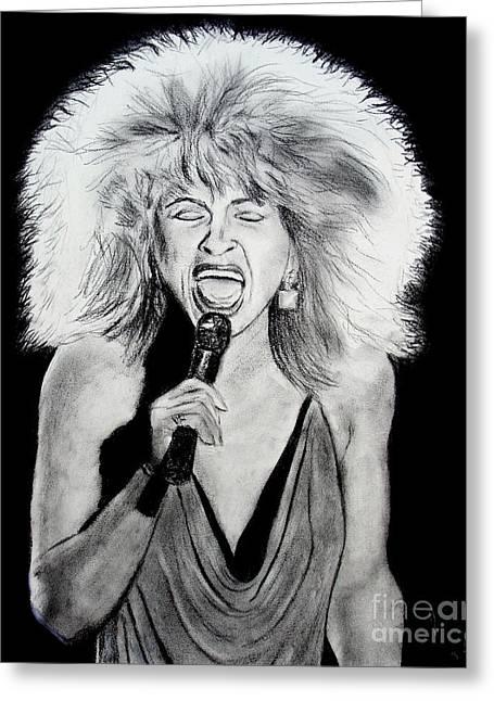 Singer And Actress Tina Turner  Greeting Card by Jim Fitzpatrick
