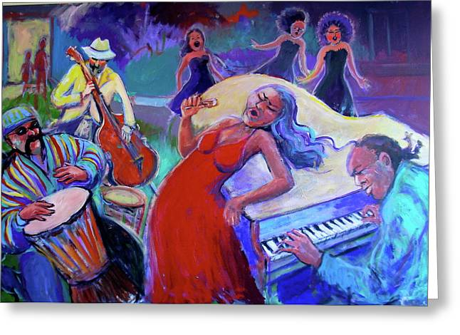 Singin  The Blues Greeting Card by Anne Marie Bourgeois