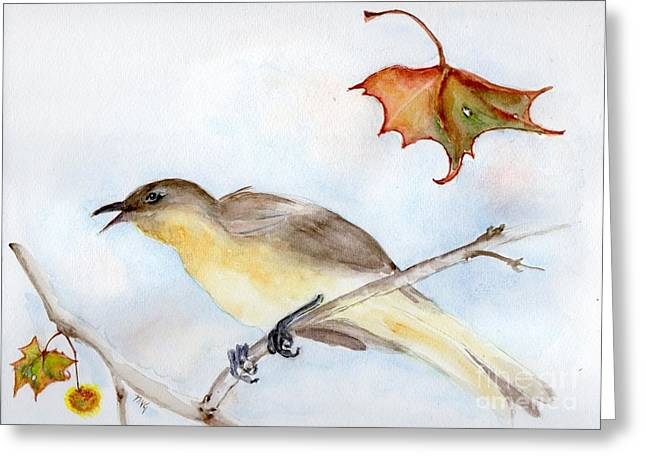 Greeting Card featuring the painting Singing Bird In Sycamore by Doris Blessington