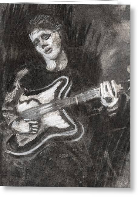 Greeting Card featuring the drawing Singing Sad Songs by Denny Morreale