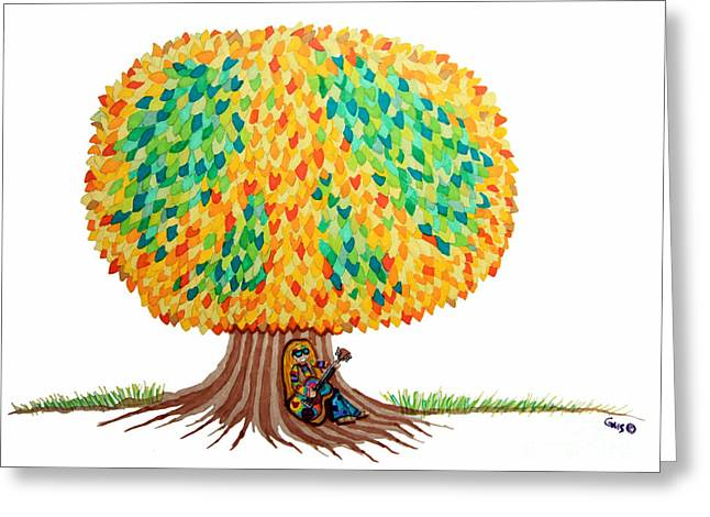 Singing Under The Peace Tree Greeting Card by Nick Gustafson