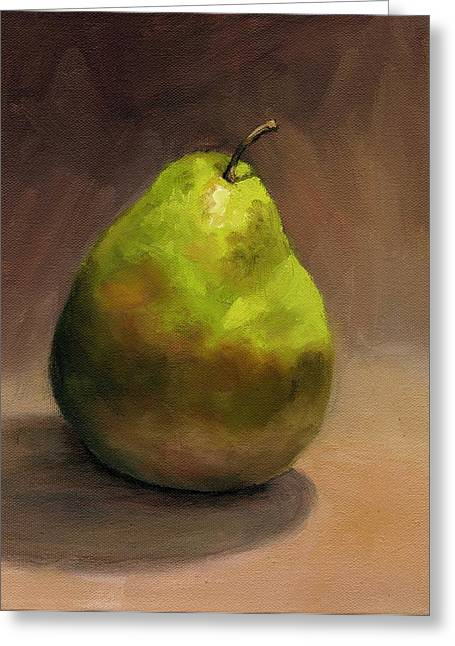 Greeting Card featuring the painting Single Pear No. 1 by Vikki Bouffard