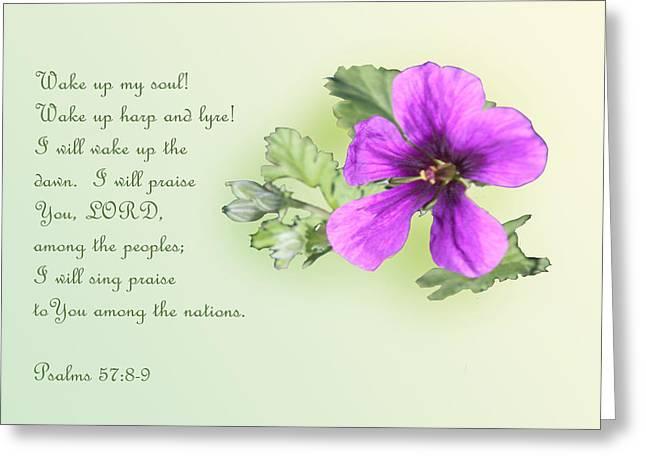 Single Violet Flower Ps. 57v8-9 Greeting Card