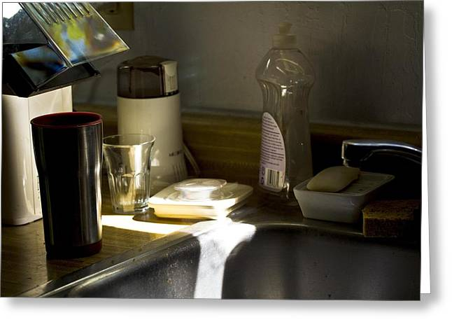Sink After Roasting Coffee Greeting Card by Larry Darnell