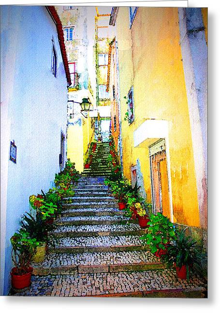 Sintra Portugal Stairs Greeting Card by Michael Dantuono