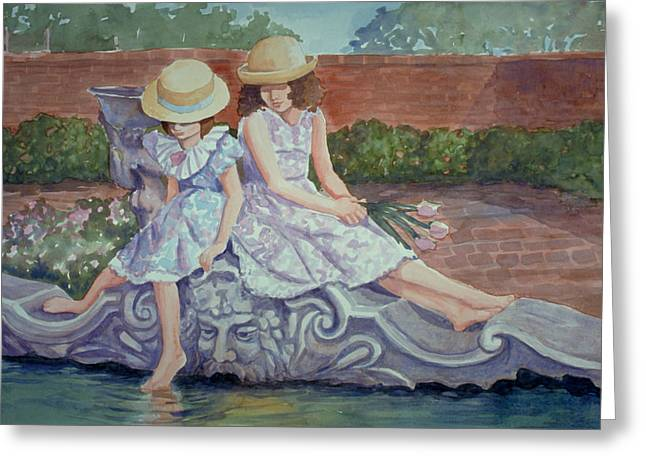 Sisters At The Fountain Greeting Card