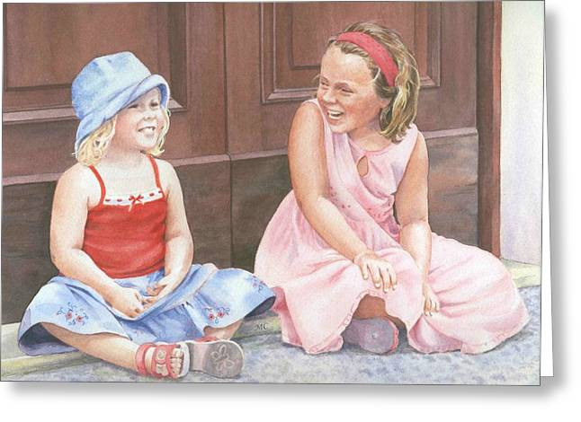 Sisters On Holiday Greeting Card by Maureen Carter