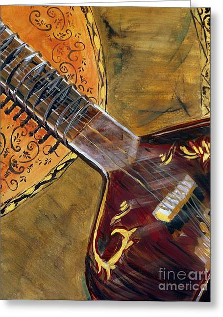 Sitar 3 Greeting Card by Amanda Dinan