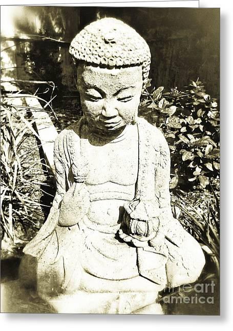 Sitting Buddha II Greeting Card by Angela Wright