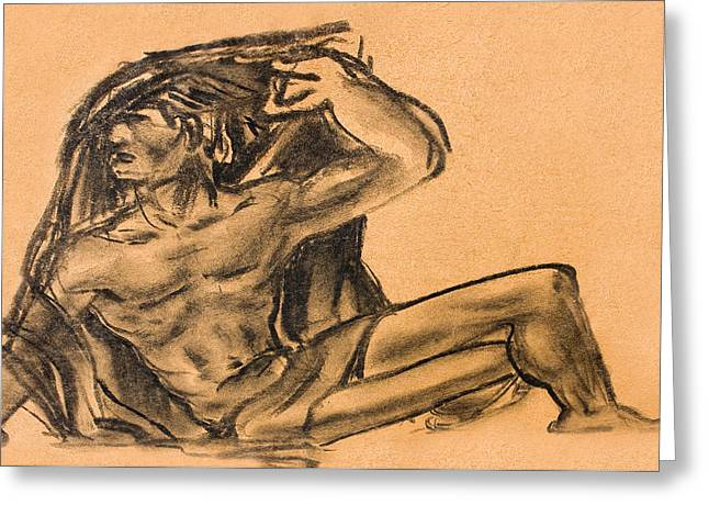Sitting Human Charcoal Drawing  Greeting Card by Odon Czintos