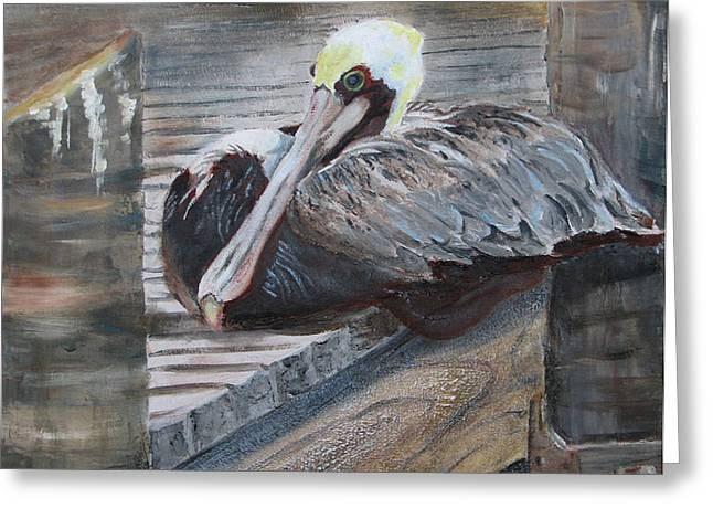 Sitting On The Dock Of The Bay Greeting Card by Libby  Cagle