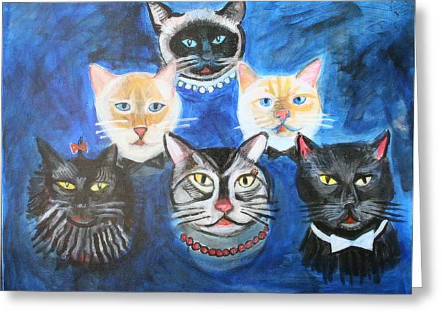 Six Cats Greeting Card by Cheryl Scribner