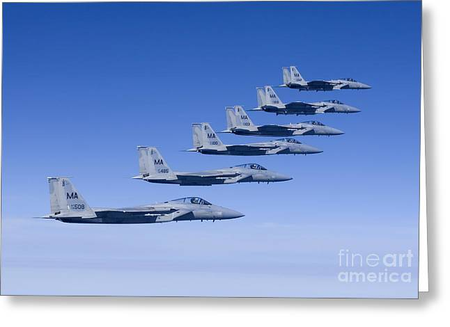 Six F-15 Eagles Fly In Formation Greeting Card by HIGH-G Productions