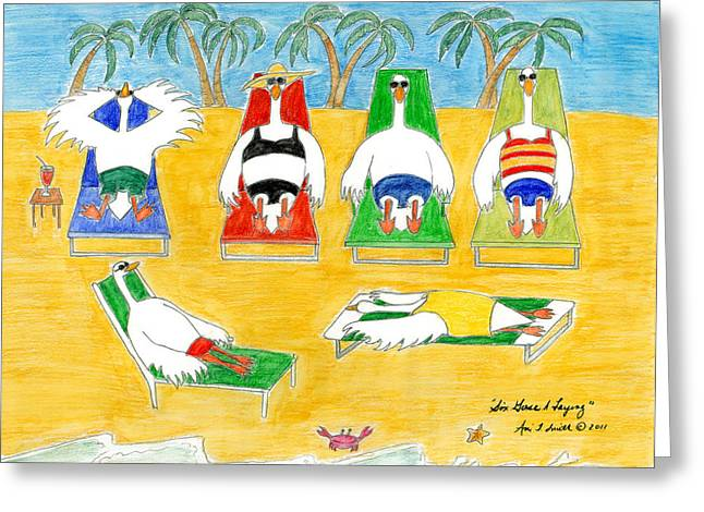 Six Geese A Laying Greeting Card by Ani Todd Smith