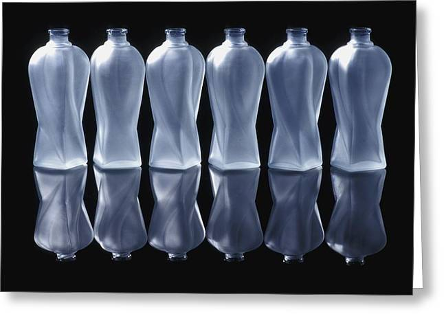 Six Glass Bottles Greeting Card by David Chapman