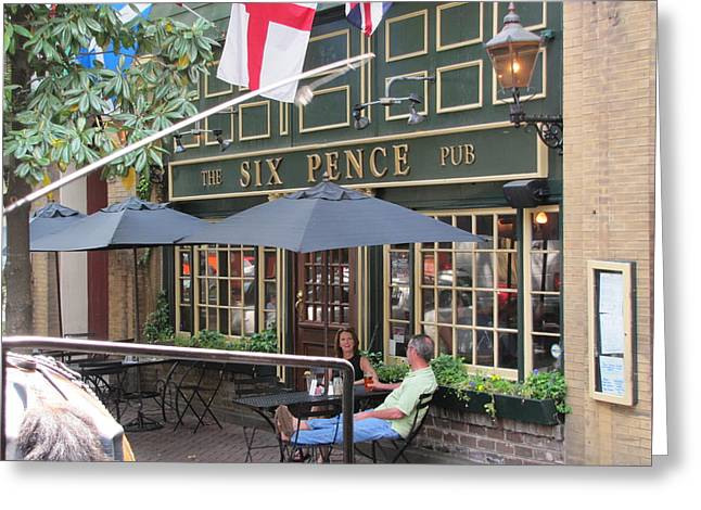 Six Pence Pub Greeting Card by Shawn Hughes