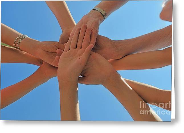 Six People Stacking Their Hands  Greeting Card