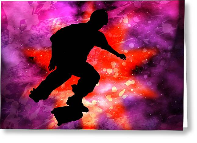 Skateboarder In Cosmic Clouds Greeting Card by Elaine Plesser